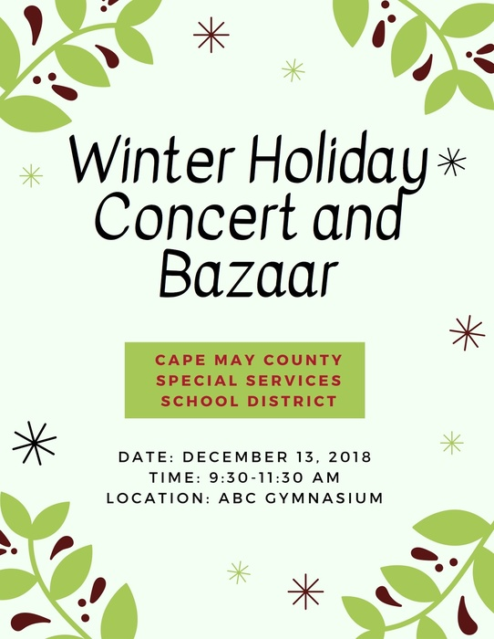 HOLIDAY CONCERT AND BAZAAR